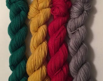 4 different 25 gr mini skeins = 100 gr Hand Dyed SW MCN  Plush Sock yarn 100 gr | I Love Christmas | Free US shipping