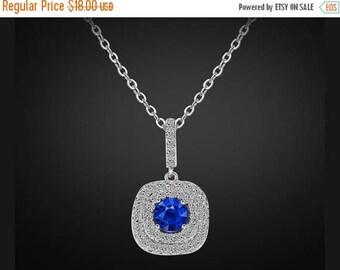 ON SALE Swarovski bridal necklace, Sapphire bridal necklace