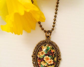 Vintage inspired Bronze Floral Cameo Necklace