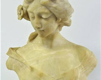 Antique European Art Nouveau alabaster sculpture bust of a lady circa 1890s
