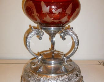 Large antique Victorian Canadian silver plated dragon heads epergne centre piece with Bohemian ruby red etched bowl circa 1890s