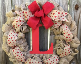 Made to order wreath. Monogram Letter Burlap Wreath, Custom Burlap Wreath