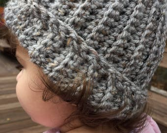 Grey  ribbed slouchy hat