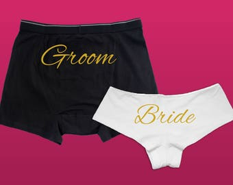 Bride and Groom Gift Underwear // Wedding Gift Panties and Boxers // Engagement Gift // Honeymoon Gift //Bride and Groom Panties and Boxers