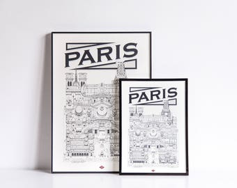 "Paris - series illustration ""Travel With Me"". Black and white. 21 x 29.7 cm"