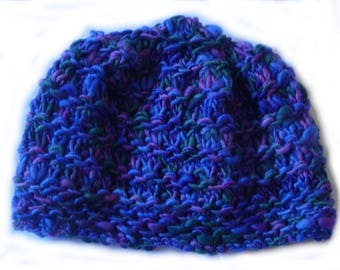 Purple and blue hat with decorative stitches
