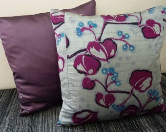 Silver Grey Lilac Purple Black Blue Vine Luxe Vintage Japanese Meisen Silk Kimono Fabric Pillow Cushion Cover 2
