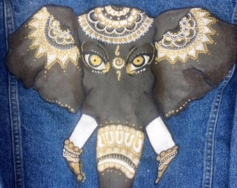 Hand Painted Boho Elephant Denim Jean Jacket