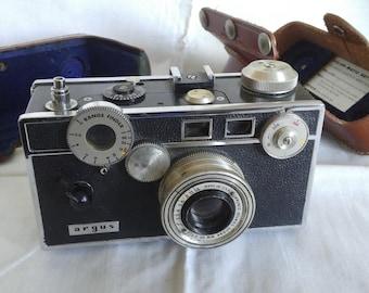 Vintage Argus 35mm Camera  Leather Case