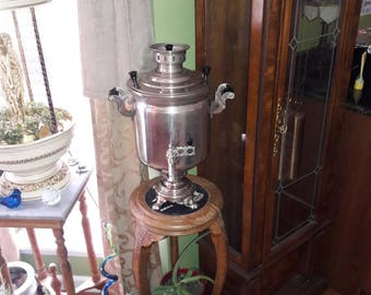 Vintage 1977 Russian (USSR) Nickel Plated Charcoal Fired Samovar