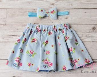 Blue Skirt, Floral Skirt, Cotton Skirt, Toddler Skirt, Baby Skirt, Girls Skirt, Skirt Set, Girl's Blue Skirt, Girl's Floral Skirt