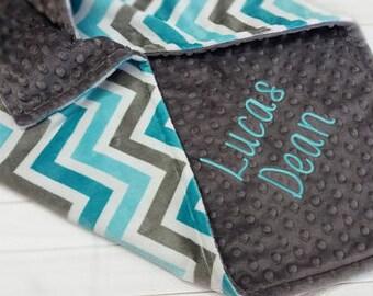Personalized Baby Blanket, Chevron Baby Minky Blanket, Boy Baby Blanket, Gray and Teal Baby Blanket, Minky Baby Blanket