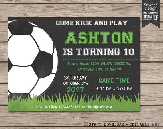 soccer invitation soccer birthday invitation soccer party instant download editable pdf - Soccer Party Invitations