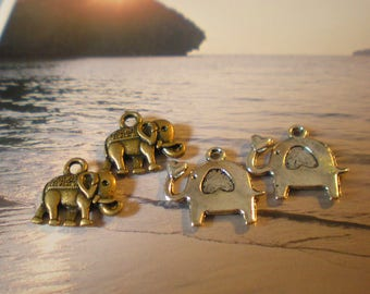 Set of 4 ELEPHANT heart charms in silver and bronze metal