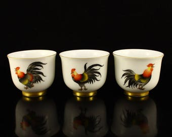 N3810 A Set Chinese Qing Dynasty Gilt Gold Famille Rose Three Lucky Chickens Porcelain Teacup w Yong Zheng Mark