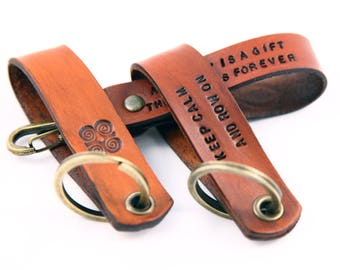 Anniversary Gift Leather Keychain  Personalized Custom Leather Key Chain Hand Made Hand Stamped Leather Key Ring for Her Him Custom Color