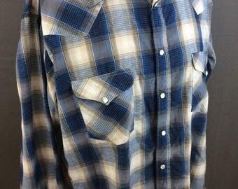 Vintage Western Pearl Snap Shirt Mens Western Shirt Dress Shirt Plaid Shirt L XL