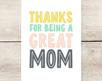 Thanks Mom Greeting Card, Cards for Mom, Mother's Day card, New Mom