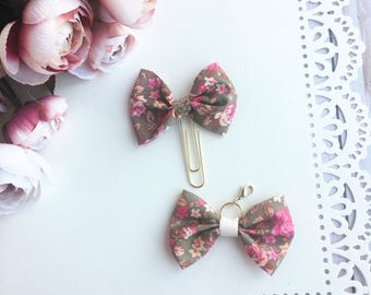 Brown Floral Traveler's Notebook Bow Charm and Planner Bow Charm