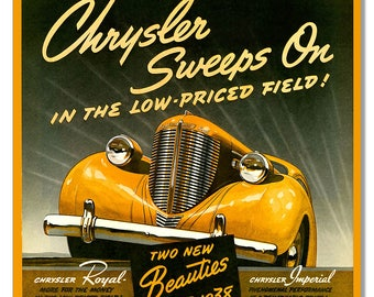 Chrysler Beauties 1938 Reproduction Vintage Sign 12x12 RG9400