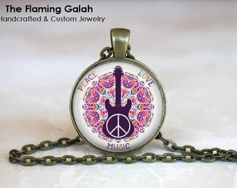 PEACE, LOVE, MUSIC Pendant • Guitar • Gift for a Music Teacher • Musician • Guitar Player • Gift Under 20 • Made in Australia (P1486)