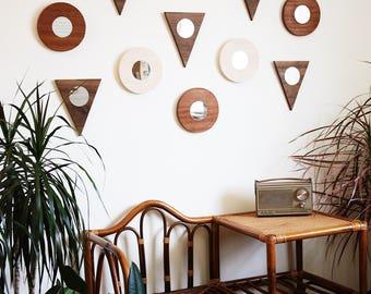 Round Wall Mirror Minimal Modern Sapele