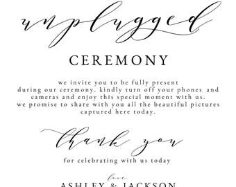 Welcome to Our Unplugged Ceremony || Wedding Sign || Custom Wedding Ceremony Sign