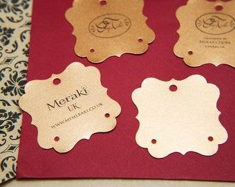 100 Copper Pearlised Earring Tags, Custom earring cards. Jewellery Display. Earring display cards. Jewellery Packaging. Rose Gold holder.