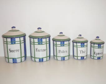 Beautiful set of Vintage French Enamelware Canisters Blue Green and White Storage ENAMEL Jars, 1930 /1940