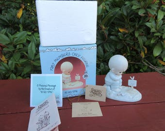 """Vintage Precious Moments 1987 Members Only Figurine """"In His Time"""" In the Box with Paperwork"""