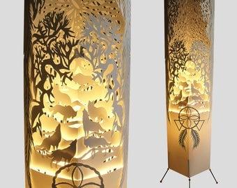 Wolf Lamp Floor Lamp Standing Lamp Lampshade Paper Lamp Bedroom Lighting Decor Livingroom Lights Dream catcher Lamp Forest Lamp Tall Lamp