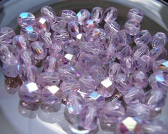 10 Bohemian beads purple ab faceted 6mm