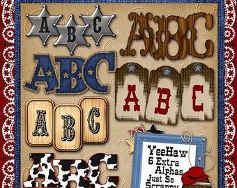 On Sale 50% Alphabets - Yee Haw Digital Scrapbook Kit Extra Alphabets - Digital Scrapbooking
