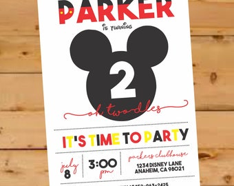 Mickey Mouse Birthday Invite, Mickey Mouse Invitation, Mickey Mouse Party, Mickey Mouse Clubhouse, Second Birthday invite, oh toodles invite