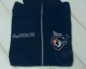 NICU Nurse Fleece Jacket with Heart FootPrints Stethoscope -RN Lpn zipup light weight fleece jacket with several color options-SWEETTART