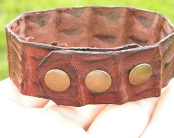 Genuine red brown  Alligator leather cuff bracelet   Shaman style wristband adjustable for 6.5 inch to 7 to 7 1/2  inch  wrist sizes