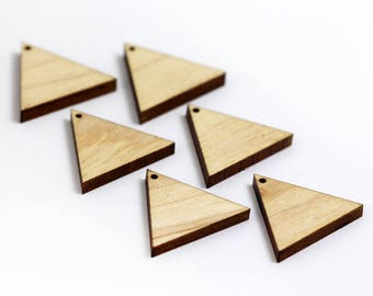 6 Equilateral Triangle Blank Beads : Maple Plywood
