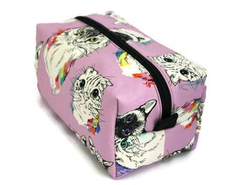 Boxy Bag -Toiletry Bag - Dopp Kit -Travel Bag -Makeup Bag - Accessory Bag - Wash Bag - Wet Bag - Scribble Cat