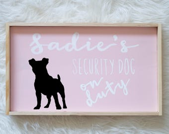 Jack Russell Terrier Silhouette Painted Wood Nursery Sign, Kids Room Sign, Security Dog, Guard Dog on Duty, Kids Room Decor, Dog, Baby Decor