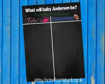 Tutu's or Touchdowns Gender Reveal Scoreboard, Gender Reveal Chalkboard, Printable Chalkboard, Gender Reveal Party Decor
