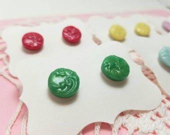 Polymer Clay Circle Flourish Post Earrings