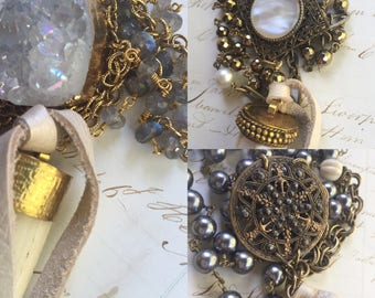 Long bone /mother of pearl vintage   Tusk assemblage necklace