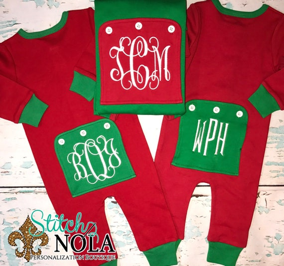 ON SALE Ships Fast Christmas Pajamas, Christmas Rompers, One Piece Sleeper, One Piece Pajamas, Christmas Bodysuit, Faux Drop Seat Romper, Fa