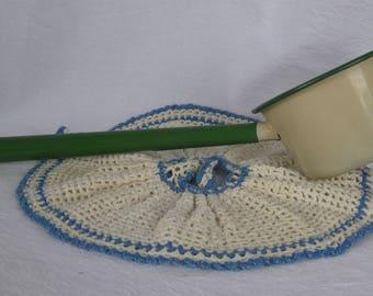 Vintage Cream Green Enamelware Ladle Dipper