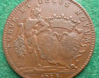 Original French Historical Medal Of 1728. Commemorating The Marriage Of Duke of Bourgogne to Caroline of Hesse-Reinfeld.
