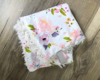 Purple floral, Double Cuddle Minky blanket lovey READY TO SHIP