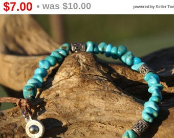 Turquoise & Bali Silver Bracelet With Silver Plate Clasp