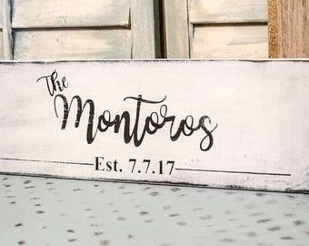 Family Established Sign - Family Last Name Sign -Wedding Date Sign - Wooden Est Sign -Last Name Wood Sign -Last Name Established Sign