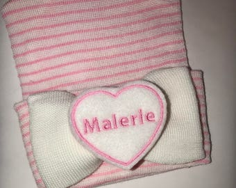 Exclusive Newborn Hospital Hat Monogrammed With name.. PERSONALIZED! Bow with Name! 1st Keepsake!