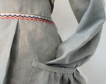 HEIDI DRESS, grey linen